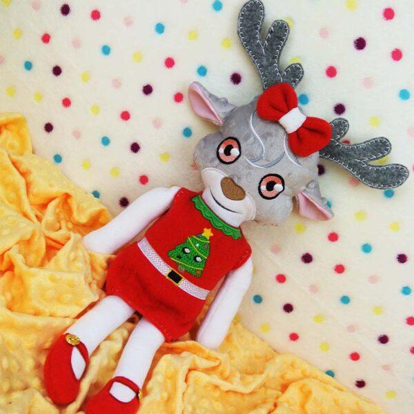 Sammy reindeer Doll 4 SIZES ith machine embroidery design