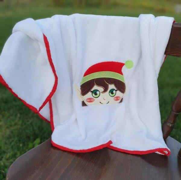 Christian elve boy Peeker Machine embroidery design