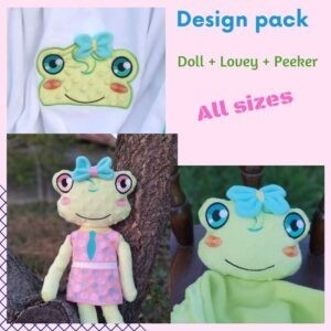 Rue frog doll machine embroidery design ith