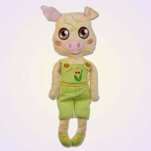Pig piggy boy doll ith machine embroidery design