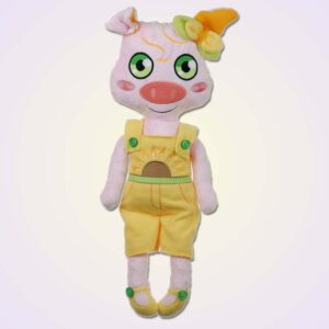 Pig piggy girl doll ith machine embroidery design