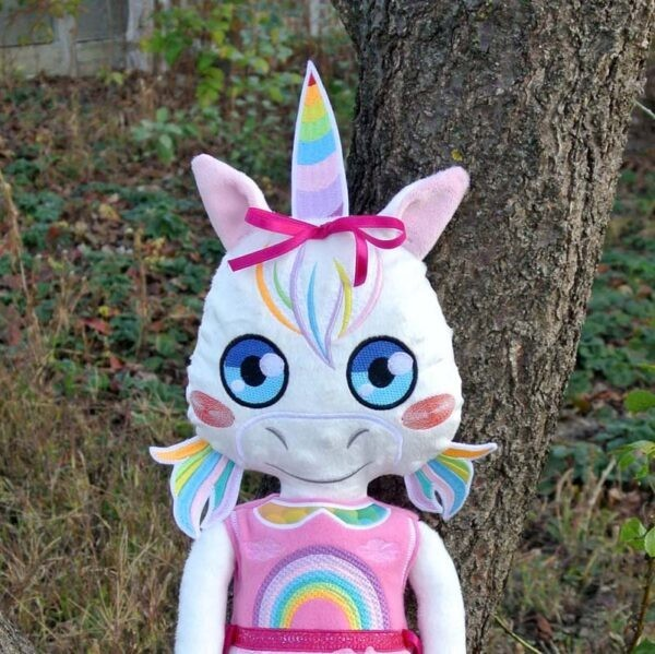 Unicorn Doll 4 SIZES machine embroidery ith