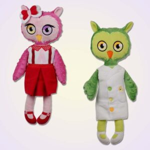 Owl girl and boy doll ith machine embroidery design