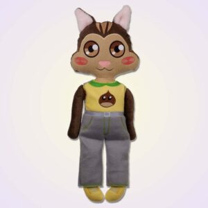Chipmunk boy doll ith machine embroidery design