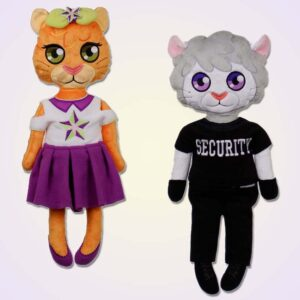 Lion girl and boy doll ith machine embroidery design