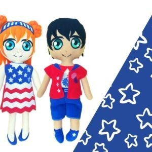 American boy and girl doll 4th july flag machine embroidery ith