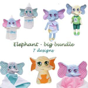 Elephant big bundle machine embroidery design ith