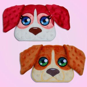 Beagle dog boy and girl peeker ith machine embroidery design