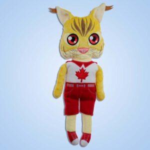 Lynx boy doll ith machine embroidery
