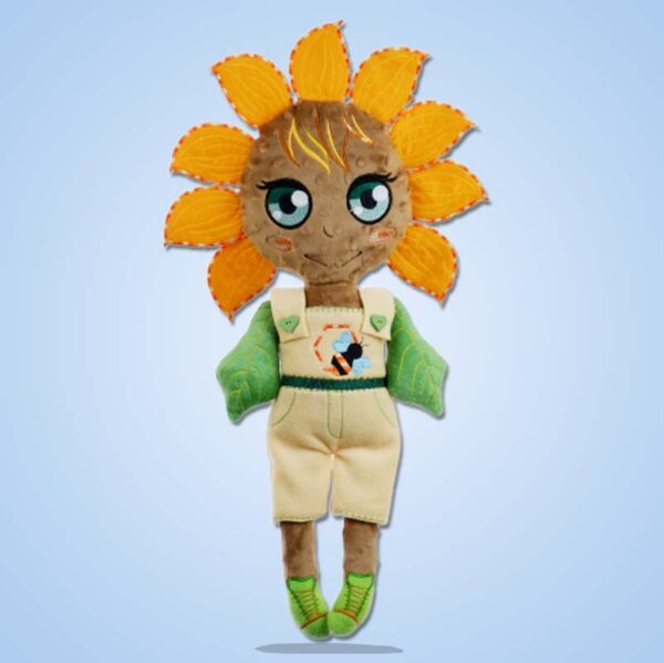 Sunflower girl doll ith machine embroidery design 1