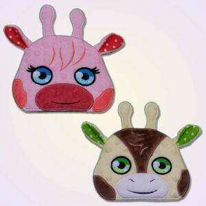Giraffe boy and girl peeker ith machine embroidery design