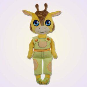 Giraffe boy doll ith machine embroidery design