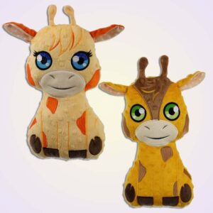 Giraffe girl and boy stuffie ith machine embroidery design