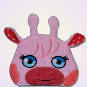 Giraffe girl peeker ith machine embroidery design