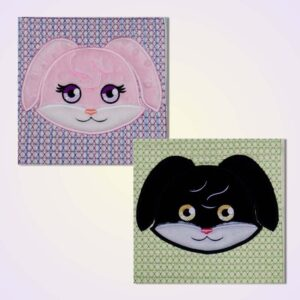 Quilt blocks bunny machine embroidery