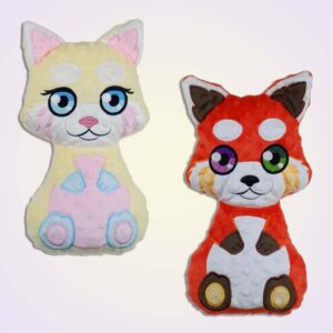 Red panda boy and girl stuffie ith machine embroidery design