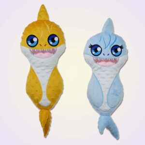 Shark girl and boy stuffie ith machine embroidery design