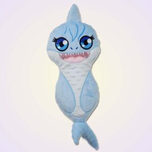 Shark girl stuffie ith machine embroidery design