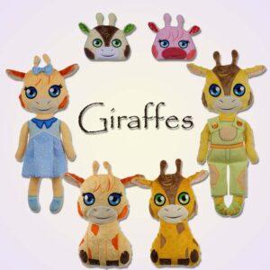 Giraffe stuffie toy peekerl doll ith machine embroidery design