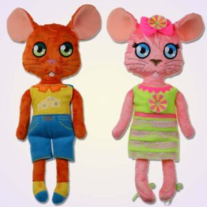 Mouse boy and girl doll ith machine embroidery design