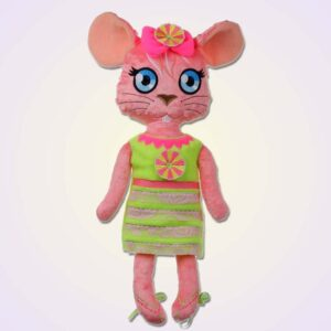Mouse girl doll ith machine embroidery design