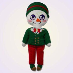 Snowman boy doll ith machine embroidery design