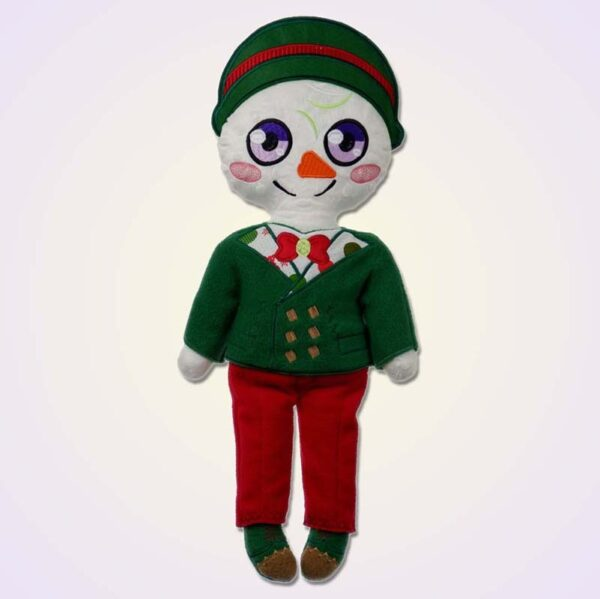 Snowman boy doll ith machine embroidery design