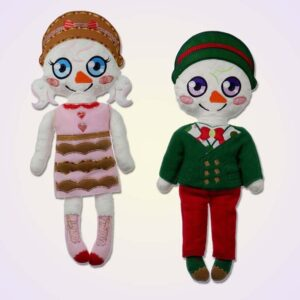 Snowman girl and boy doll ith machine embroidery design