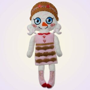 Snowman girl doll ith machine embroidery design