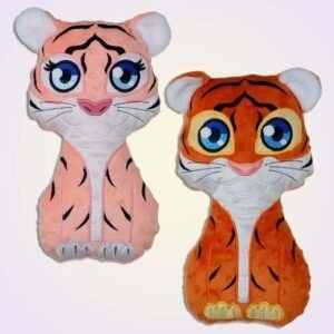 Tiger boy and girl stuffie ith machine embroidery design