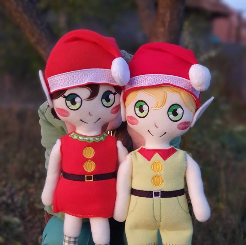 elf doll toy ith machine embroidery design