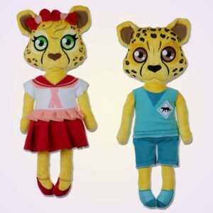 Cheetah girl and boy doll ith machine embroidery design