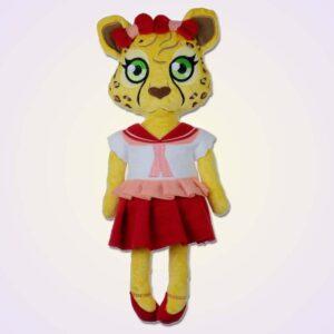 Cheetah girl doll ith machine embroidery design