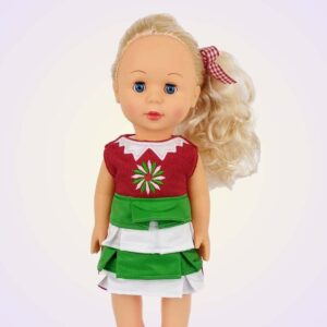 Christmas festive AGD american girl dress ITH machine embroidery project