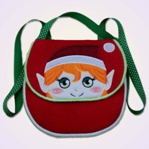 Elf girl purse ITH machine embroidery design