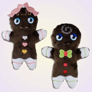 Gingerbread boy and girl stuffie ith machine embroidery design