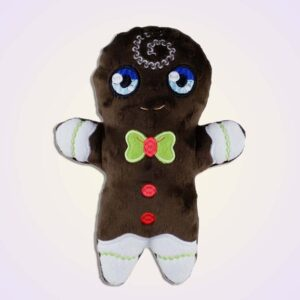 Gingerbread boy stuffie ith machine embroidery design
