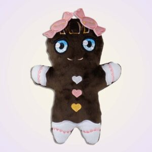 Gingerbread girl stuffie ith machine embroidery design