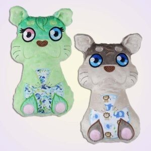 Otter boy girl stuffie ith machine embroidery design pattern project