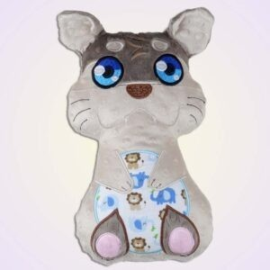 Otter boy stuffie ith machine embroidery design pattern project