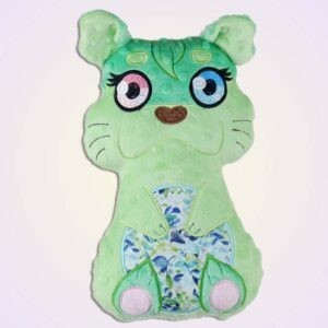 Otter girl stuffie ith machine embroidery design pattern project