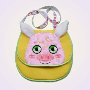 Piggy pig piglet purse ITH machine embroidery design