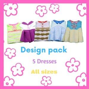 Wardrobe clothes for dolls ith machine embroidery