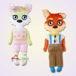 Wolf boy and girl doll ith machine embroidery design