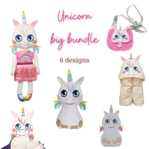 Unicorn big bundle machine embroidery design pattern ith set