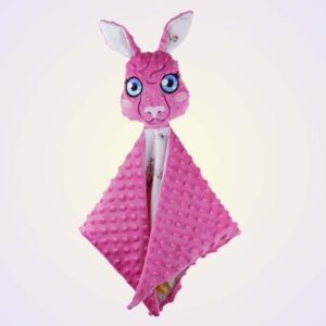 Kangaroo girl lovey baby toy ith machine embroidery design project
