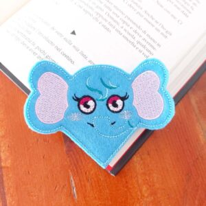 Elephant corner bookmark ith machine embroidery pattern project