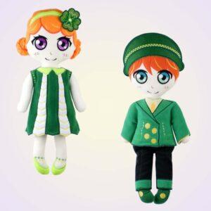 Leprechaun girl and boy doll machine embroidery pattern design project diy