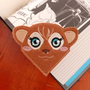 Meerkat corner bookmark ith machine embroidery pattern project