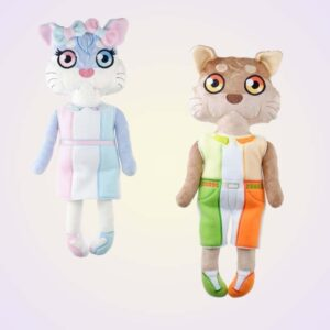 Otter girl and boy doll ith machine embroidery design pattern project